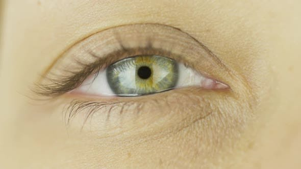 Thumbnail for One Eye Open, Look at Camera, Natural Eyelashes. Close-up. Clear Confident Look