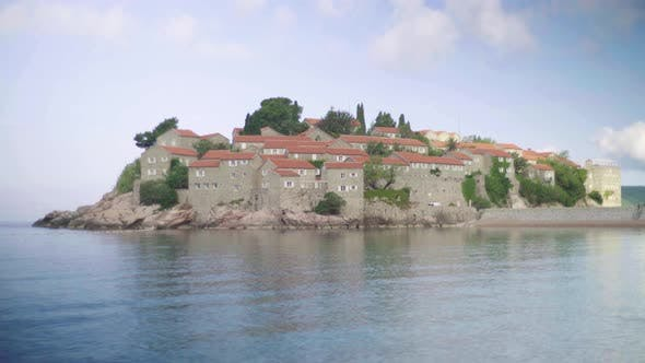 Thumbnail for Sveti Stefan Is a Tourist Town By the Sea. Montenegro. Day