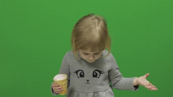 Thumbnail for Kid Girl with Ice Cream on a Green Screen, Chroma Key