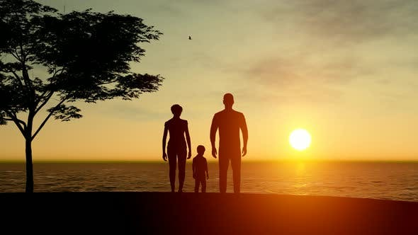 Thumbnail for Family And Sunset Landscape