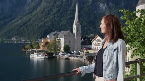Tourist Girl Walking in Hallstatt