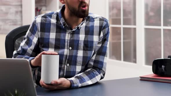 Thumbnail for Famous Influencer Talking and Reviewing a Smart Speaker