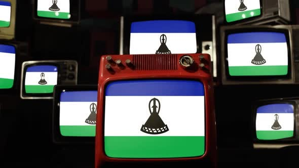 Flag of Lesotho and Retro TVs.