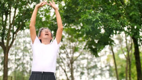 Senior Asiatique faisant de l'exercice dans le parc