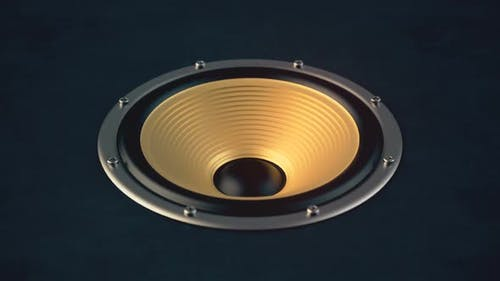 Audio Speaker with Gold Colored Membrane Playing Looped Modern Music