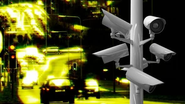 Surveillance cameras in a highway