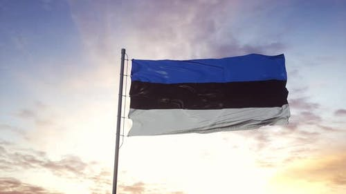 Estonia Flag Waving in the Wind Dramatic Sky Background