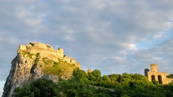 Thumbnail for Sunrise Couds Sky over Historic Castle Ruins in Green Forest