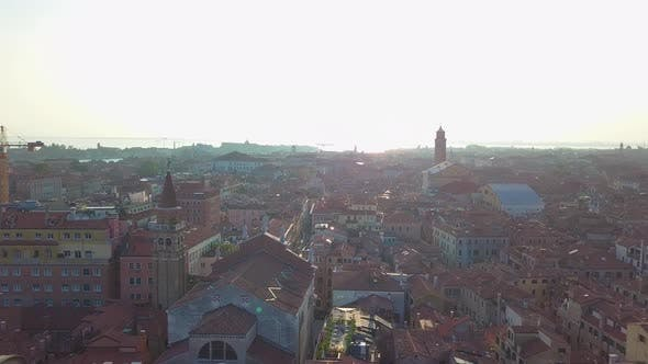 Thumbnail for Aerial Venice. Video  Flight Over Venice Italy, Travel Through Italy, Canals and Roofs of Venice Fro