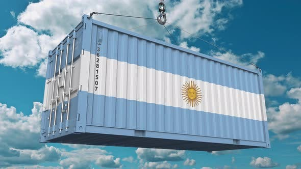 Thumbnail for Loading Cargo Container with Flag of Argentina