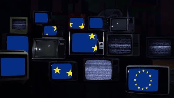Thumbnail for European Flag and Retro TVs.
