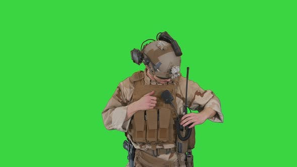 Thumbnail for Soldiers Camouflage Gear Checking Ammunition Green Screen Chroma Key