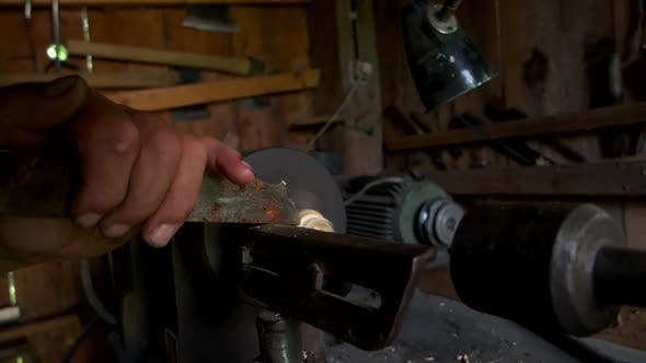 Carpenter Lathing Wood Close Up