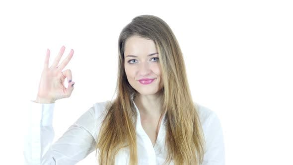 Thumbnail for Woman Showing Ok Sign, White Background
