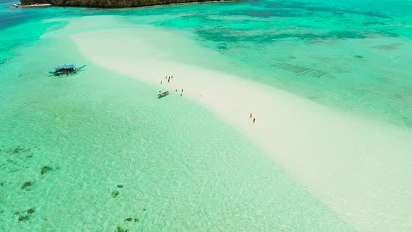 Thumbnail for Sandy Beach in the Lagoon with Turquoise Water. Balabac, Palawan, Philippines.