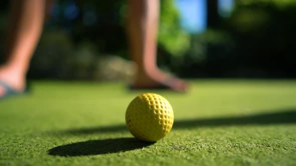 Thumbnail for Mini Golf Yellow Ball with a Bat near the Hole