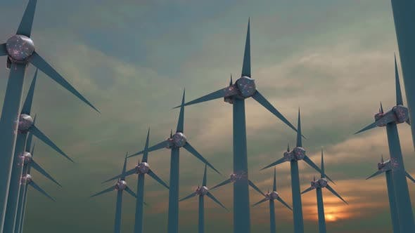 Thumbnail for Wind Turbines With Digital Particles 4k