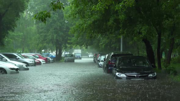 Flooded cars on the street of the city