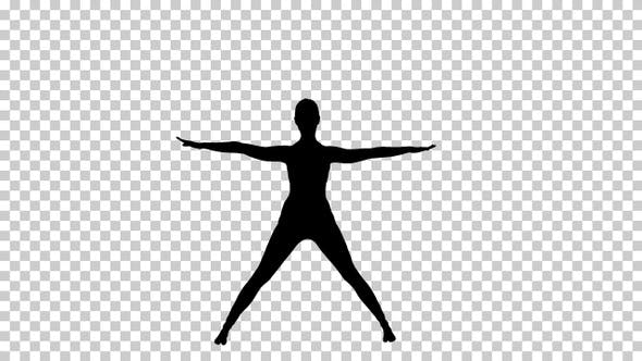 Thumbnail for Silhouette woman bending in asana yoga pose, Alpha Channel