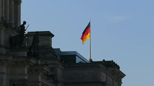 Berlin City - Reichstag Building - Germany Flag