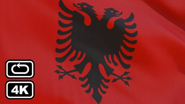 Thumbnail for Albania Flag 4K Seamless Loop
