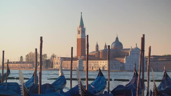 Thumbnail for Covered Gondola Boats in Venice Italy