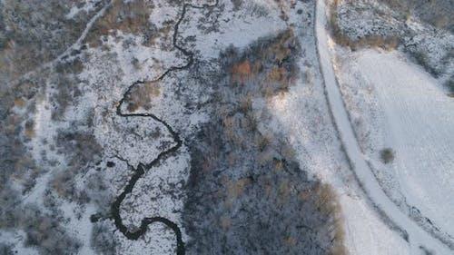 Winter Landscape with Forest, River. Winter Landscape
