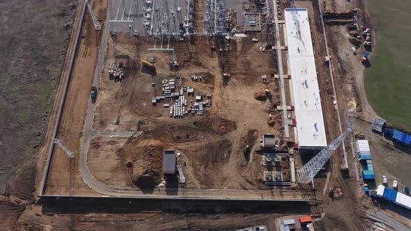 High Angle View on the Massive Construction Site of the Wind Power Station,