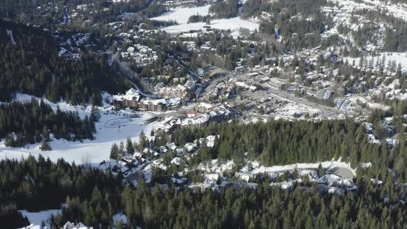 Thumbnail for Aerial View Whistler Creekside Mountain Town