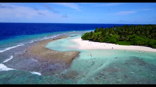 Aerial scenery of perfect lagoon beach adventure by turquoise water and white sand background of adv