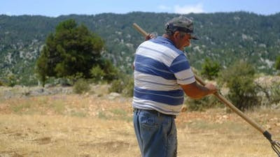 Hay Sprayer Working Farmer