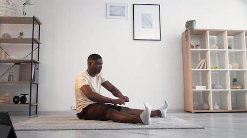 Sport Beginner Tired Black Man Online Home Fitness