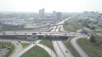 Automobile road interchange with traffic in the daytime