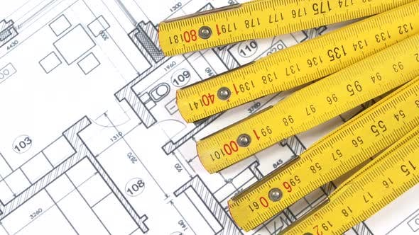 Thumbnail for Part of Yellow Folding Rule on Building Plan, Rotation