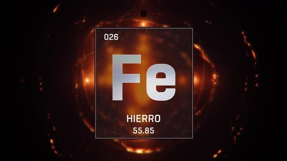 Thumbnail for Iron as Element 26 of the Periodic Table on Orange Background in Spanish Language