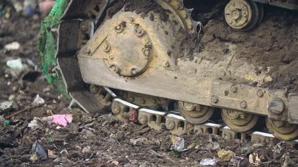 Thumbnail for Crawler Bulldozer Shovel Pushes Trash