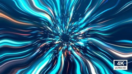 Colorful Wavy Space Star Burst Tunnel 4K