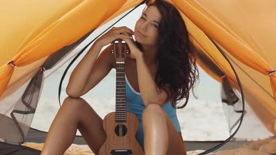 Woman with Ukulele Beach Summer Holiday Vacation