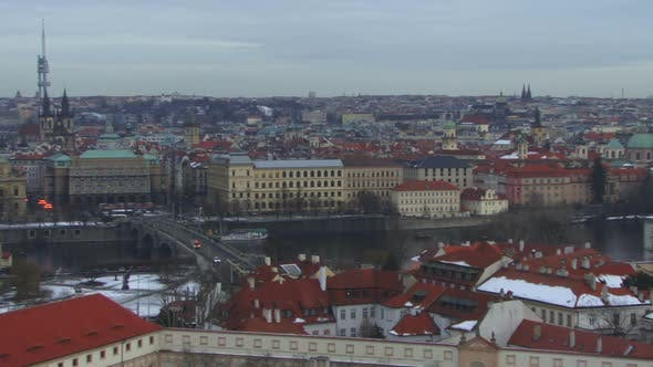 Thumbnail for WS, Tracking Left, Skyline City of Praque, Czech Republic at dusk