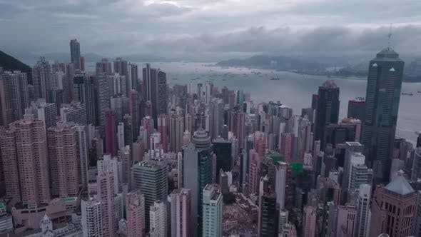 Hong Kong Aerial View of City Centre in HK