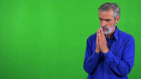 Thumbnail for Alter Senior Man Prays - Green Screen - Studio