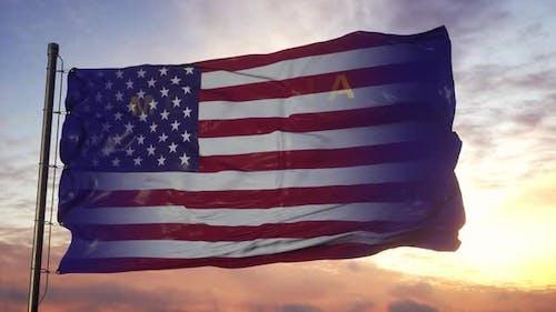 Montana and USA Flag on Flagpole