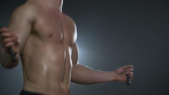Thumbnail for Shirtless Man Doing Jump Workout