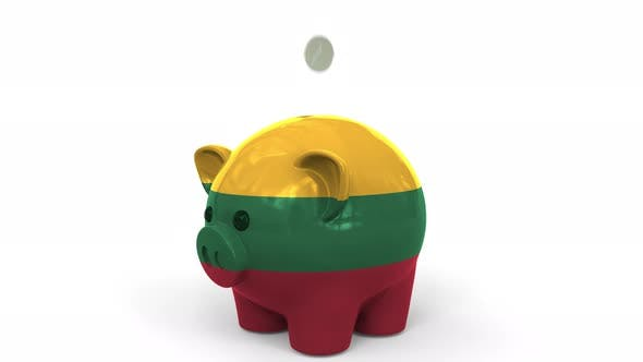 Thumbnail for Coins Fall Into Piggy Bank Painted with Flag of Lithuania