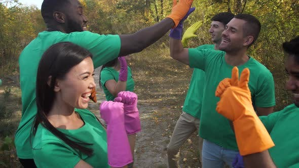 Joyful Multiracial People High Five After Cleaning