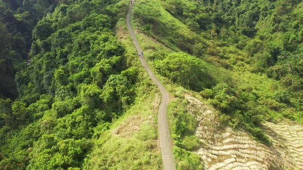 Thumbnail for Panoramic Aerial View Campuhan Ridge Walk Through a Hills with Green Meadows in the Town of Ubud