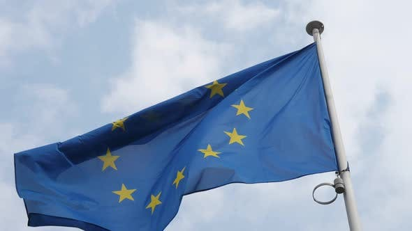 Cover Image for Huge EU Banner Flying in Brussels As a Symbol of Unity in Spring in Slo-mo