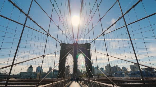 Thumbnail for The Majestic Brooklyn Bridge in New York. Go To Brooklyn Side. First Person View