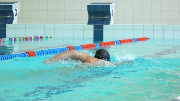 Thumbnail for A Professional Swimmer Swims the Crawl in an Indoor Pool