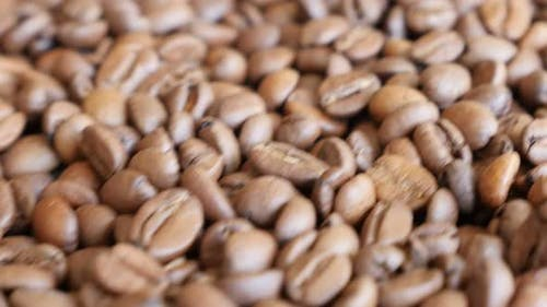 Dolly moving near coffee high quality beans background 4K 2160p 30fps UltraHD video - Arabica coffee